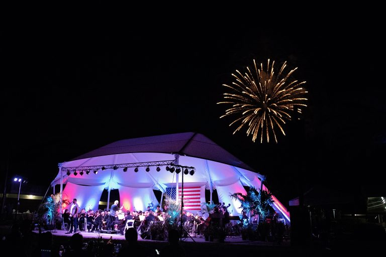 Fireworks over orchestra